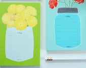 Yellow Flowers Notepad, To Do List, Grocery List, Market List, Gifts for Paperlovers, Notetaking, Memo List, Organizer, Flower Stationery
