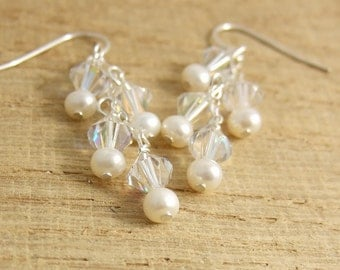 Earrings with Swarovski Crystal and Pearls Wire Wrapped in Cascades on Sterling Silver Chains CE-256