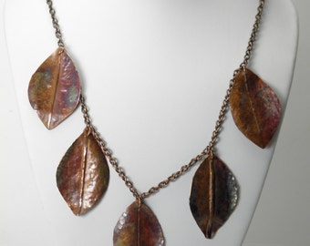 Bib necklace, Copper Leaf,  copper chain, long necklace, flame painted,forged, statement, trending organic, autumn leaves, boho, rustic,