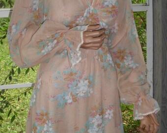"""Gunne Sax Style Dress by Jody T """"Georgia Peach and Poseys"""""""