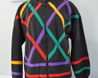 Vintage Zip Up Sweatshirt 80s 90s Athletic Black Red Teal Purple Ladies