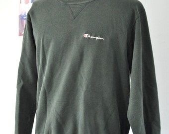 LARGE Faded Vintage Champion Sweatshirt Moss Green 90s Sports Running Jogging Gym