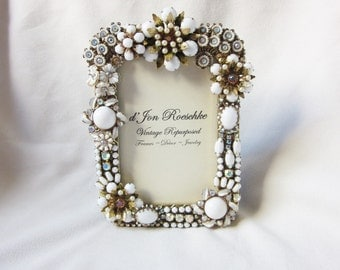 Repurposed Milk Glass Rhinestone Vintage Jewelry Picture Frame Embellished Brooch Earrings