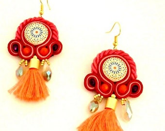 boho neon tassel earrings , soutache gipsy earrings , hippie jewelry  , mosaic earrings , folk earrings , ethnic jewelry ,  MELINA earrings
