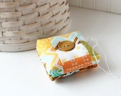 Colorful Yellow Square Pincushion Chevron Pin Keep Scrappy Pin Cushion
