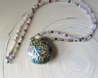 Dragonfly Raku Necklace, Raku Bottle Necklace, Dragonfly Bottle Necklace, Dragonfly Beaded Necklace