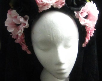OOAK Pretty in Pink Headdress with lace and roses for Wedding/Day of the Dead/Costume