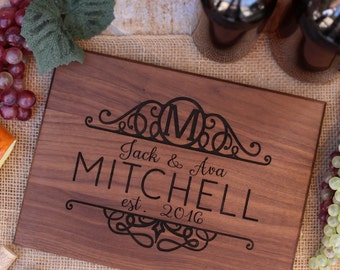 Personalized Cutting Board Newlyweds Christmas Gift Bridal Shower Gift Wedding Gift Engraved  (NVMHDAY0912)