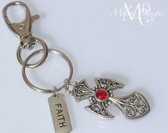 Ornate Cross Faith Key Chain Purse Charm