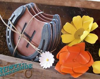 Horseshoe and Leather Coasters Western Functional Home Decor Set of 4