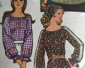 Vintage 1971 Simplicity Pattern 9827 -  Misses Peasant Blouse And Scarf Pattern  - Misses Size Large 16 /18 , Bust 38 - 40 inches