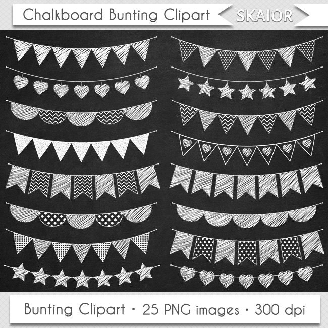 Chalkboard Bunting Clipart Flags Clipart Doodle Bunting