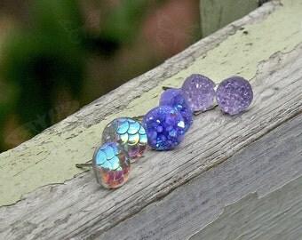 3 Pair Set - Faux Druzy Stud Earrings, 8mm Lavender Glitter, 10mm Purple Faux Druzies, 10mm Clear Iridescent Mermaid Scales