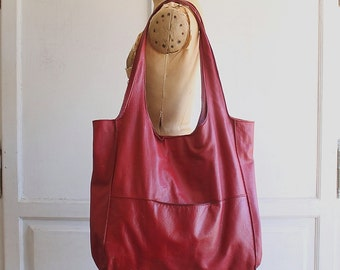 red slouchy leather bag oversized tote