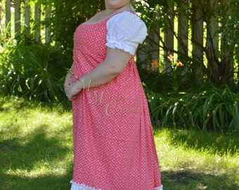 Jane Austen Regency Day Round Gown Dress in pink calico and white eyelet cotton