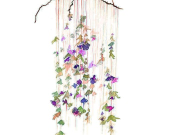 Hanging Flowers, print from original watercolor illustration by Jessica Durrant