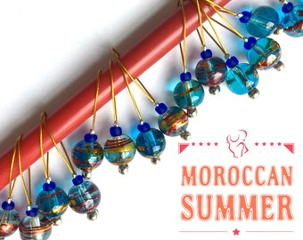 knitting stitch markers pack of 10 or 20 snag free MOROCCAN SUMMER