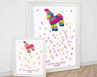 birthday fingerprint guestbook - pinata burro printable file - kids party, baby shower guest book, mexican, fiesta, celebration, donkey, diy