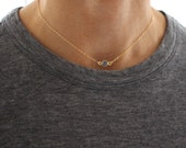 Blue Onyx Choker necklace - delicate short gold layering necklace
