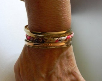Vintage Gold Plated Bangle Bracelets 8 Stacking Cuff Bracelet: Kimono Silk Cord Bangles For Women-One Size Fits All Without Clasp Bracelet