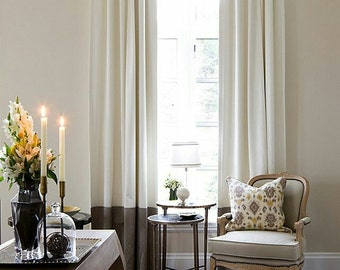 Colorblock linen drapes, LINED, pleated, sold in pairs, inverted pleats, off white and brown, or choose your own colors