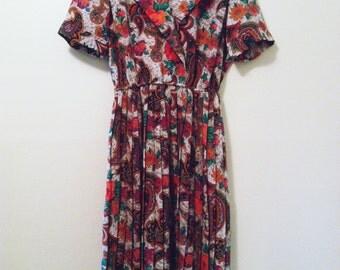 SALE - 80's Paisley Floral Dress