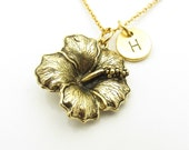 Hibiscus Necklace, Hibiscus Flower, Antique Gold Hibiscus, Personalized, Monogram, Initial Necklace, Tropical Flower, Hawaii Themed Z370
