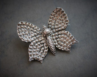 RARE Large Georgian Silver Star Punched Butterfly Brooch