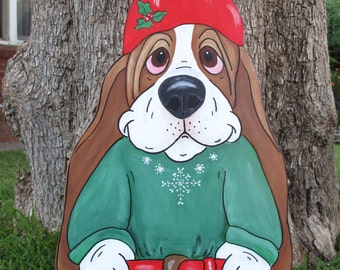 "Hand Painted Basset Hound Yard Art - ""Sven"" the Holiday Gnome"