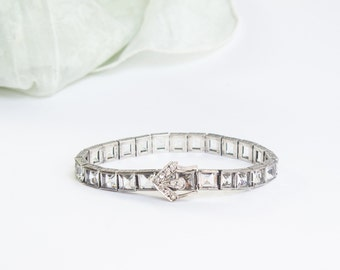 SALE Deco Crystal Buckle Bracelet | 1920s Jewelry | Buckle Bracelet | Art Deco Jewelry | Crystal Link Bracelet