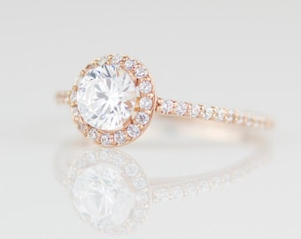White Diamond Delicate Halo Engagement Ring - 14k Rose Gold - 14k Yellow Gold - 14k White Gold - One Carat tw Ethereal Light Engagement Ring