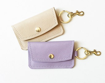 Lavender Keychain Wallet, Monogrammed Keychain Credit Card Wallet, Tan ID Wallet, Business Card Wallet, Gift Card Holder, Metro Card Pouch