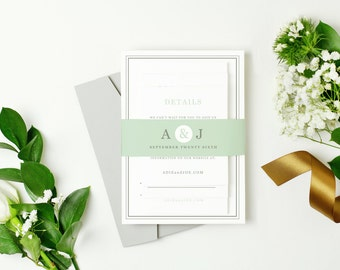 INSTANT DOWNLOAD | Printable Pocket Wedding Invitation | Mint Type | Edit in Word or Pages | Print it Yourself | Mac & PC