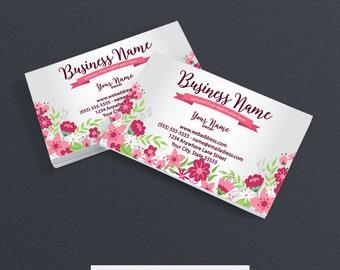 Business Card Designs - Floral Business Card  - Abstract Business Card - Printable Business Card Design - Floral 3