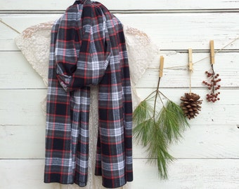 Plaid Scarf, Long Scarf, Black, Grey and Red Plaid Scarf, Chunky Scarf, Oversized Scarf, Flannel Plaid Scarf, Fall Scarf, Winter Scarf