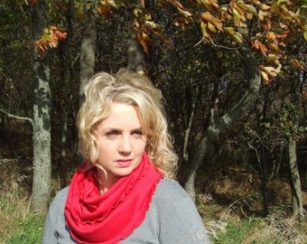 Infinity Scarf, Red Scarf, Jersey Scarf, Circle Scarf, Gift for Her, Red Infinity Scarf, handmade scarf