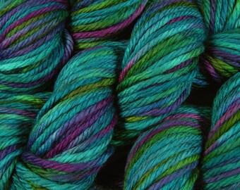 REDUCED - Hand Dyed Yarn - Bulky Weight Superwash Merino Wool Yarn - Aegean Multi - Knitting Yarn, Bulky Yarn, Chunky Yarn, Turquoise Blue