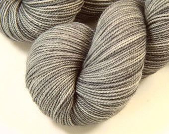 Hand Dyed Sock Yarn - Sock Weight Superwash Merino Wool Yarn - Silver Lining - Knitting Yarn, Light Gray Grey Fingering Yarn, Indie Dyer