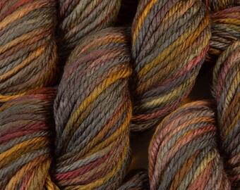 Hand Dyed Yarn - Bulky Weight Superwash Merino Wool Yarn - Agate - Knitting Yarn, Thick Yarn, Bulky Yarn, Earthtones, Grey Gray Brown