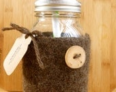 Felted wool mason jar cozy set brown with mushroom and wood button quart size