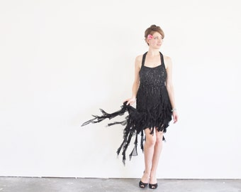 sequin ruffle SALSA dress . black beaded cha cha cha gown .medium .sale