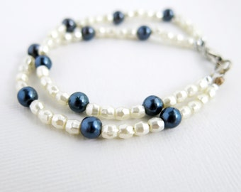 Navy Blue glass pearl and ivory glass pearl, double strand bracelet, multi strand bracelet - white and blue - F-45