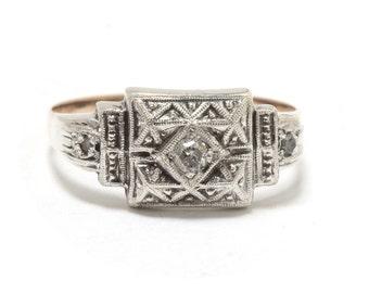 Art Deco  Silver & 9K Rose Gold Diamond Ring - Size 7.5