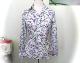 Vintage 60s Wild Flower and Lady Bird Print Top, Lady Bug Blouse M - on sale