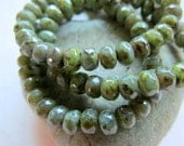 NEW RUSTIC SAGE . Czech Picasso Glass Beads .  (30 beads)  3 by 5 mm
