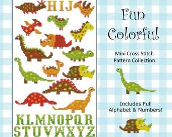 Dinosaurs Fun Colorful Collection Cross Stitch PDF Chart