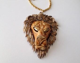 Lion Head Necklace Razza Unsigned