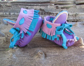 "Newborn Moccasins By Desi, Turquoise, Purple, Leather, 3"" long, Beaded Shoes, Boy, Girl, Baby, Tutu Outfit booties, lavender, Turquoise,"