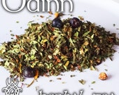 Odinn Devotional Tea - loose leaf herbal tea, peppermint, spearmint, juniper berries, white pepper, Valhalla, Odin, Aesir, Asgard, king