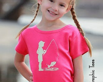 Fishing Frenzy Short Sleeved Crew by Nostalgic Graphic Tees in Hot Pink with Khaki